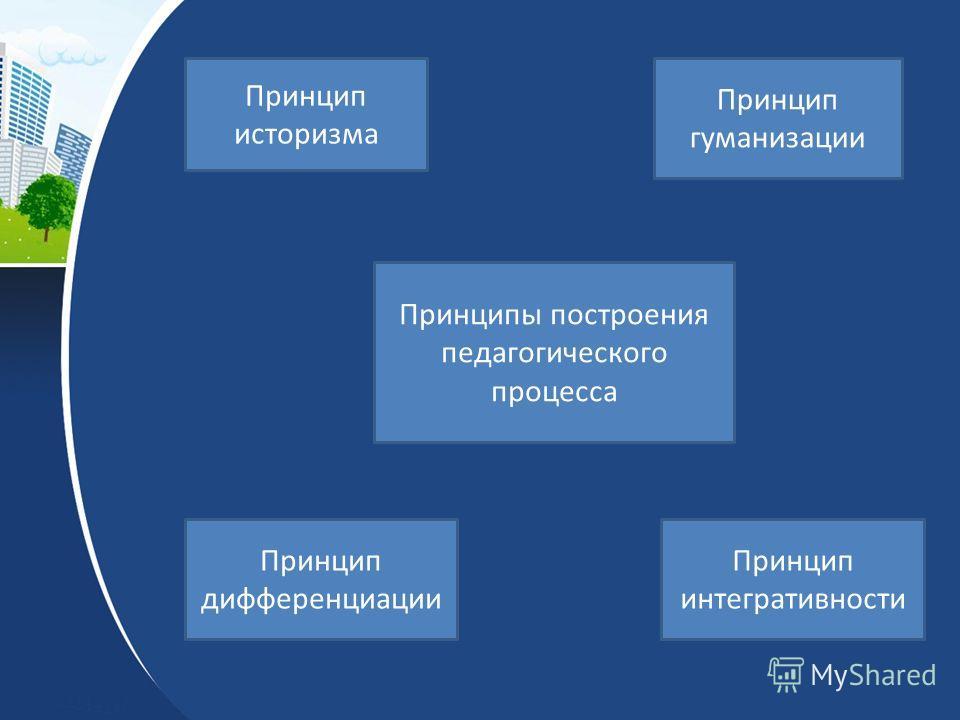 Принципы построения педагогического процесса Принцип историзма Принцип гуманизации Принцип интегративности Принцип дифференциации