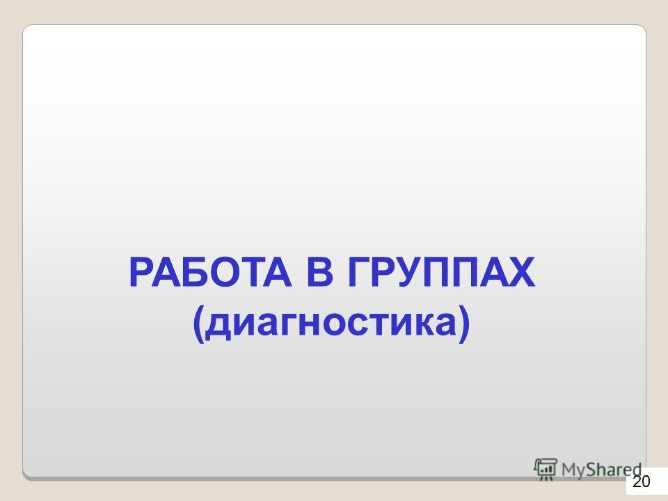 РАБОТА В ГРУППАХ (диагностика) 20
