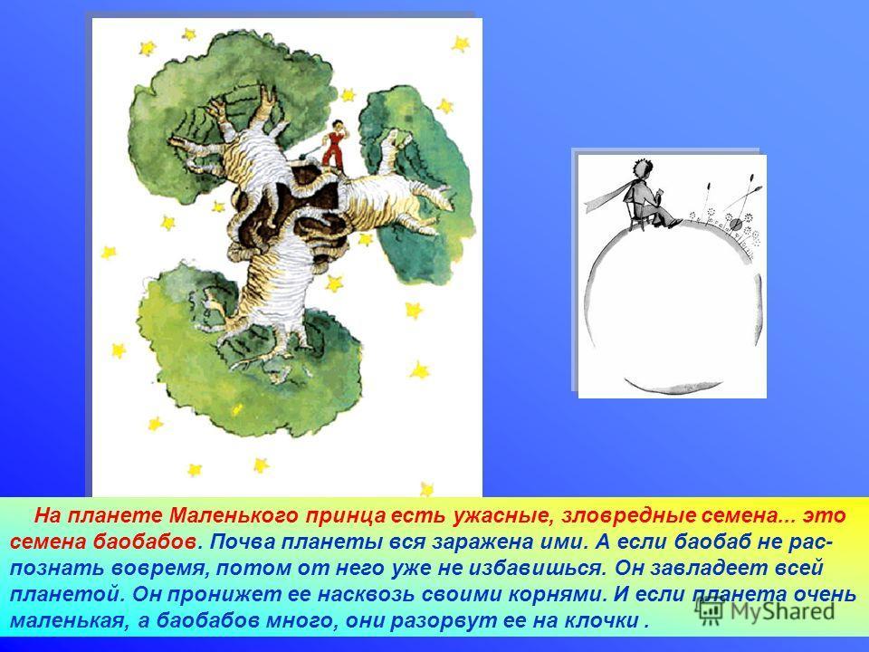 28.02.2014Агафонова Е.Е. На планете Маленького принца есть ужасные, зловредные семена... это семена баобабов. Почва планеты вся заражена ими. А если баобаб не рас- познать вовремя, потом от него уже не избавишься. Он завладеет всей планетой. Он прони