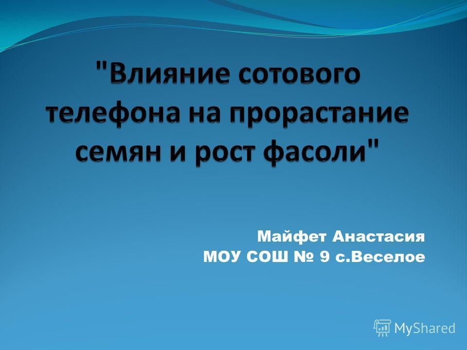 Майфет Анастасия МОУ СОШ 9 с.Веселое