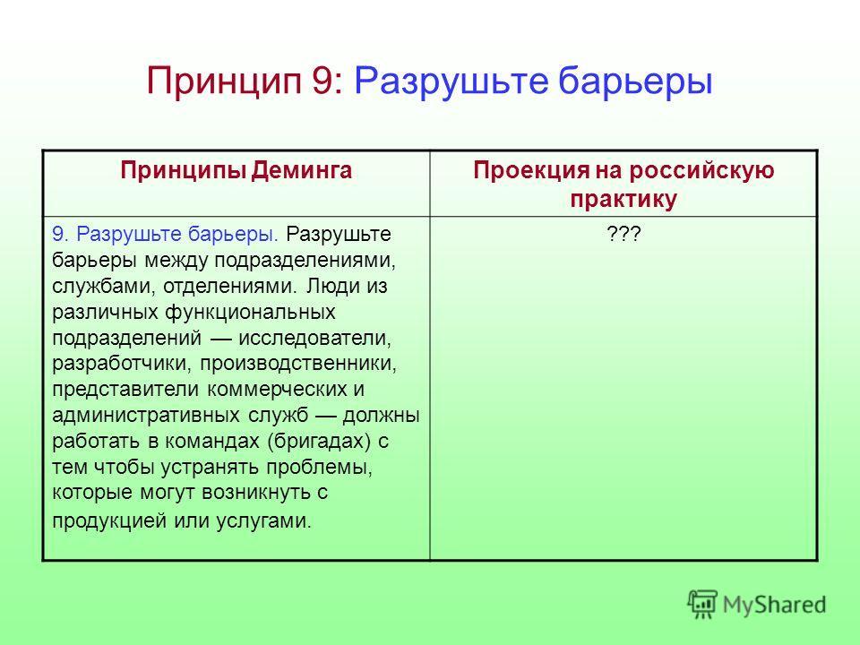 Принцип 9: Разрушьте барьеры Принципы ДемингаПроекция на российскую практику 9. Разрушьте барьеры. Разрушьте барьеры между подразделениями, службами, отделениями. Люди из различных функциональных подразделений исследователи, разработчики, производств