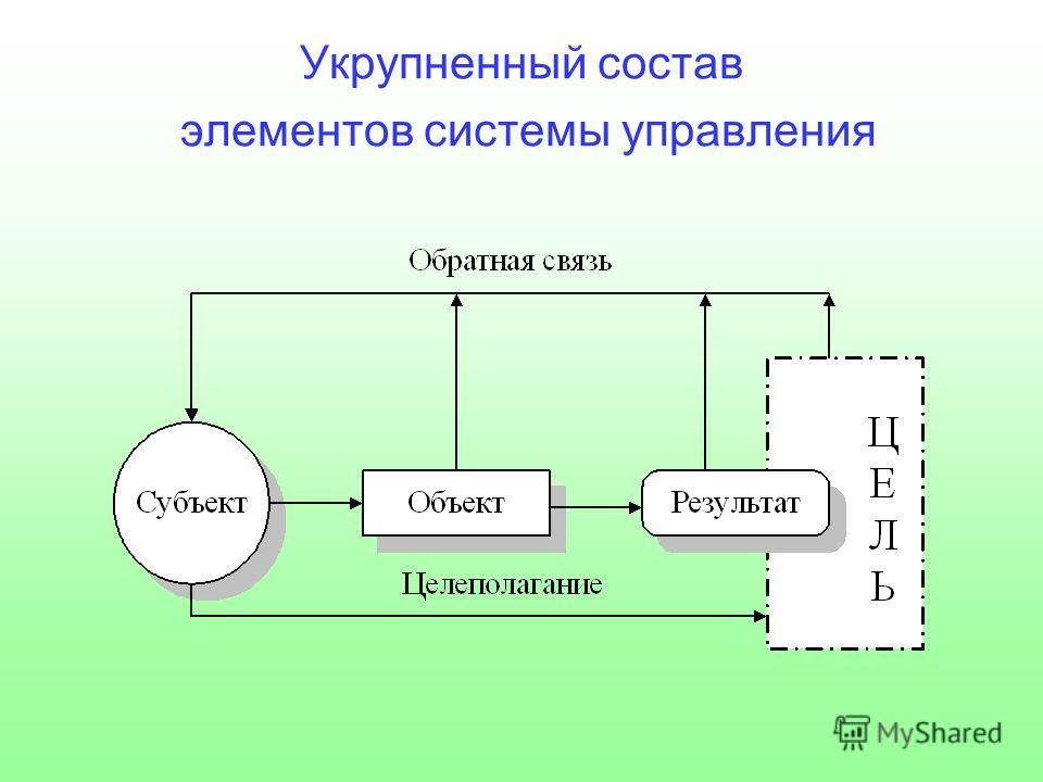 Укрупненный состав элементов системы управления
