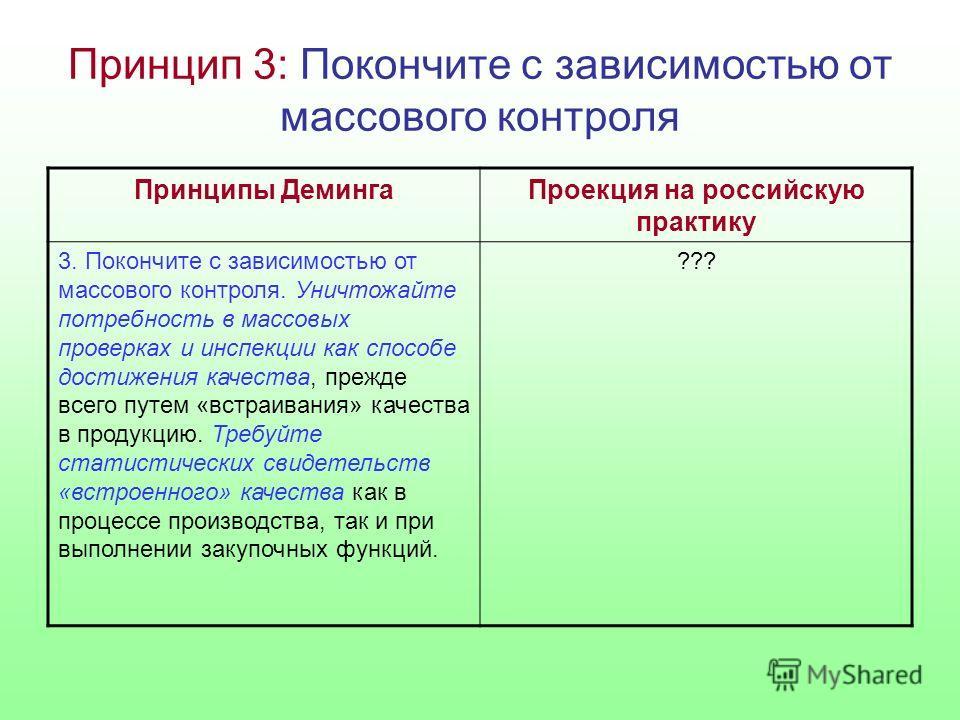 Принцип 3: Покончите с зависимостью от массового контроля Принципы ДемингаПроекция на российскую практику 3. Покончите с зависимостью от массового контроля. Уничтожайте потребность в массовых проверках и инспекции как способе достижения качества, пре