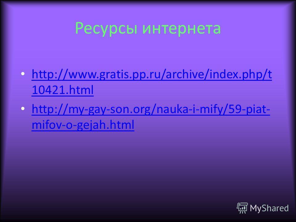 Ресурсы интернета http://www.gratis.pp.ru/archive/index.php/t 10421.html http://www.gratis.pp.ru/archive/index.php/t 10421.html http://my-gay-son.org/nauka-i-mify/59-piat- mifov-o-gejah.html http://my-gay-son.org/nauka-i-mify/59-piat- mifov-o-gejah.h