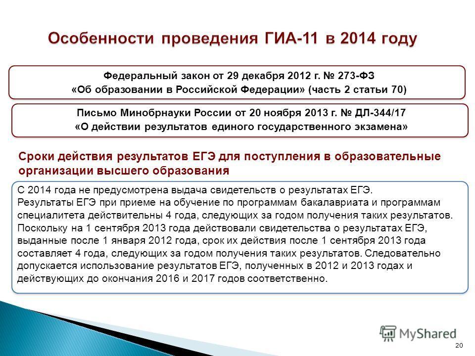 20 Письмо Минобрнауки России от 20 ноября 2013 г. ДЛ-344/17 «О действии результатов единого государственного экзамена» С 2014 года не предусмотрена выдача свидетельств о результатах ЕГЭ. Результаты ЕГЭ при приеме на обучение по программам бакалавриат