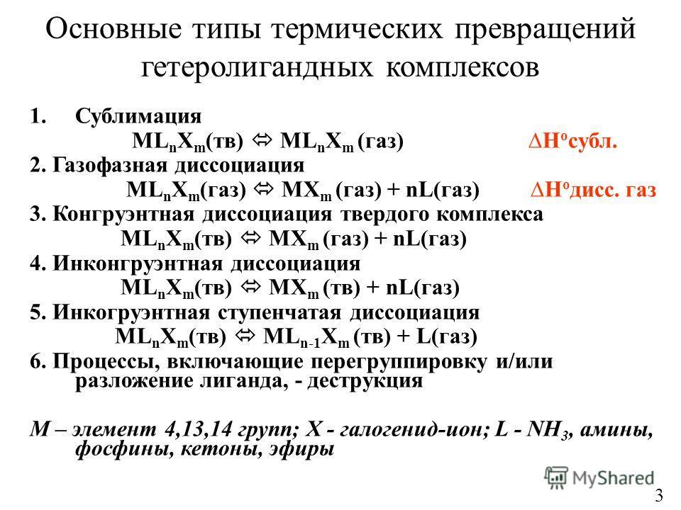 Основные типы термических превращений гетеролигандных комплексов 1.Сублимация ML n X m (тв) ML n X m (газ) H o субл. 2. Газофазная диссоциация ML n X m (газ) MX m (газ) + nL(газ) H o дисс. газ 3. Конгруэнтная диссоциация твердого комплекса ML n X m (