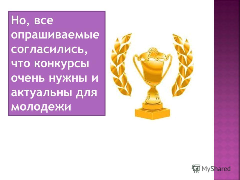 Но, все опрашиваемые согласились, что конкурсы очень нужны и актуальны для молодежи