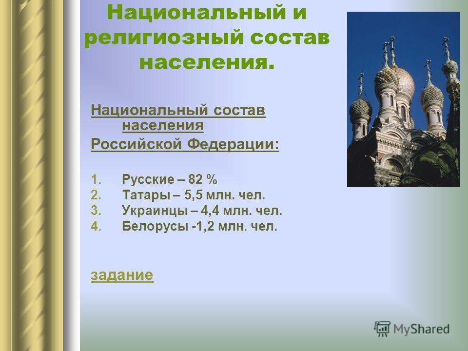 Национальный и религиозный состав населения. Национальный состав населения Российской Федерации: 1.Русские – 82 % 2.Татары – 5,5 млн. чел. 3.Украинцы – 4,4 млн. чел. 4.Белорусы -1,2 млн. чел. задание