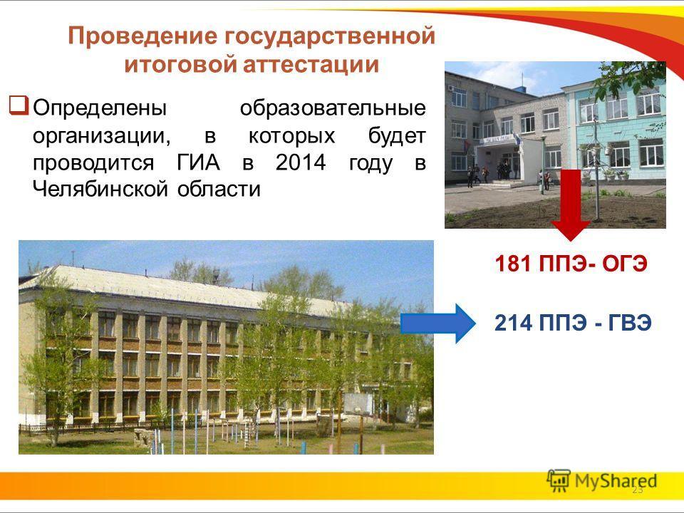 Проведение государственной итоговой аттестации Определены образовательные организации, в которых будет проводится ГИА в 2014 году в Челябинской области 23 181 ППЭ- ОГЭ 214 ППЭ - ГВЭ