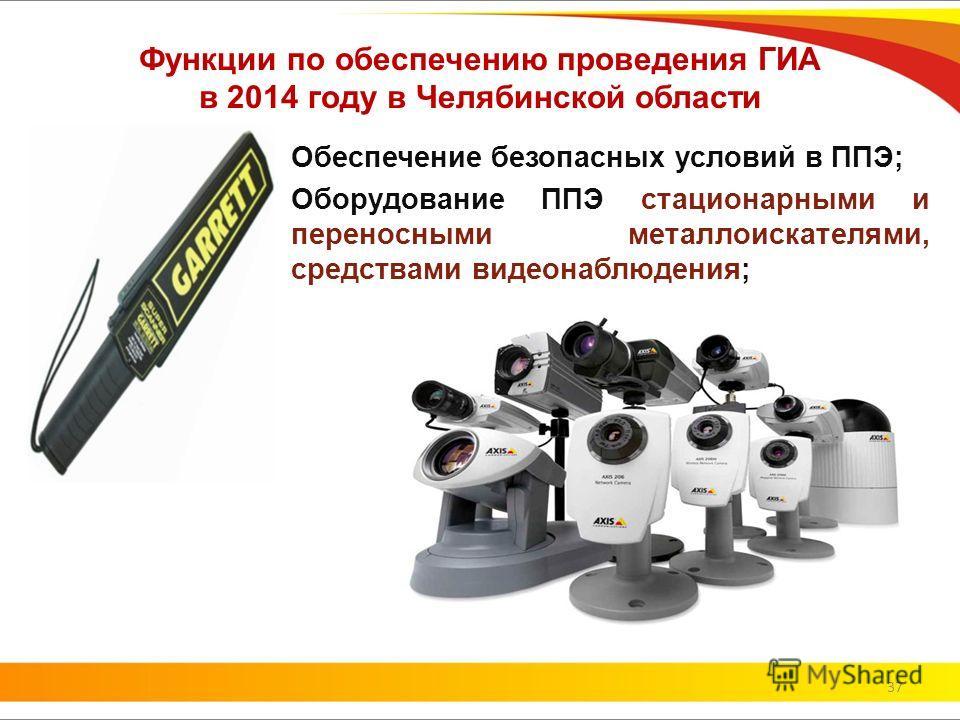 Функции по обеспечению проведения ГИА в 2014 году в Челябинской области Обеспечение безопасных условий в ППЭ; Оборудование ППЭ стационарными и переносными металлоискателями, средствами видеонаблюдения; 37