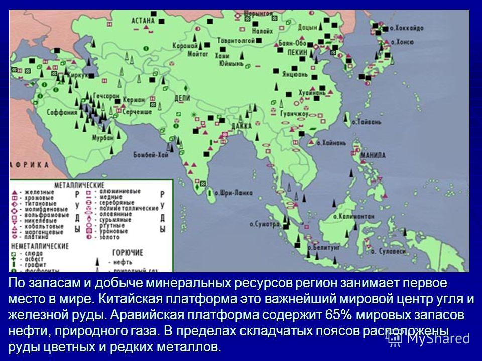 По запасам и добыче минеральных ресурсов регион занимает первое место в мире. Китайская платформа это важнейший мировой центр угля и железной руды. Аравийская платформа содержит 65% мировых запасов нефти, природного газа. В пределах складчатых поясов