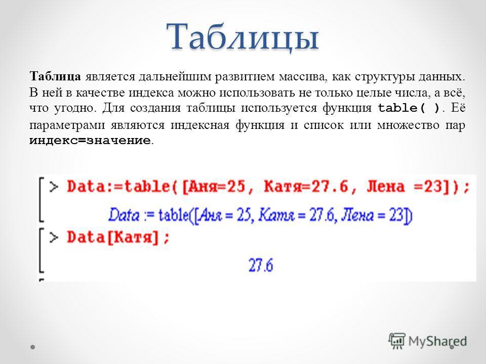 Таблицы Таблица является дальнейшим развитием массива, как структуры данных. В ней в качестве индекса можно использовать не только целые числа, а всё, что угодно. Для создания таблицы используется функция table( ). Её параметрами являются индексная ф