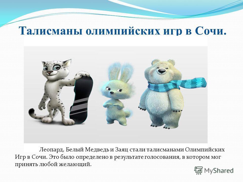 Талисманы олимпийских игр в Сочи. Леопард, Белый Медведь и Заяц стали талисманами Олимпийских Игр в Сочи. Это было определено в результате голосования, в котором мог принять любой желающий.