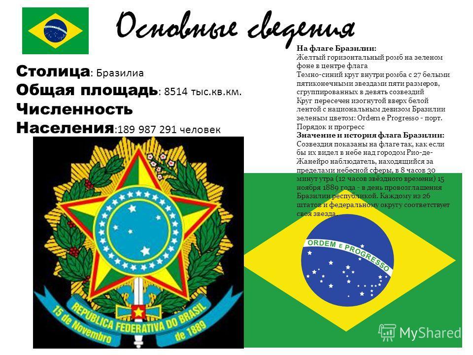 Столица : Бразилиа Общая площадь : 8514 тыс.кв.км. Численность Населения :189 987 291 человек Основные сведения На флаге Бразилии: Желтый горизонтальный ромб на зеленом фоне в центре флага Темно-синий круг внутри ромба с 27 белыми пятиконечными звезд