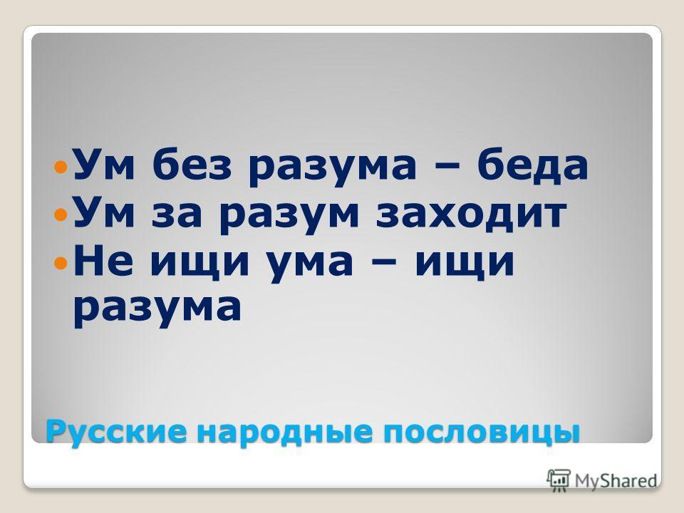 Русские народные пословицы Ум без разума – беда Ум за разум заходит Не ищи ума – ищи разума