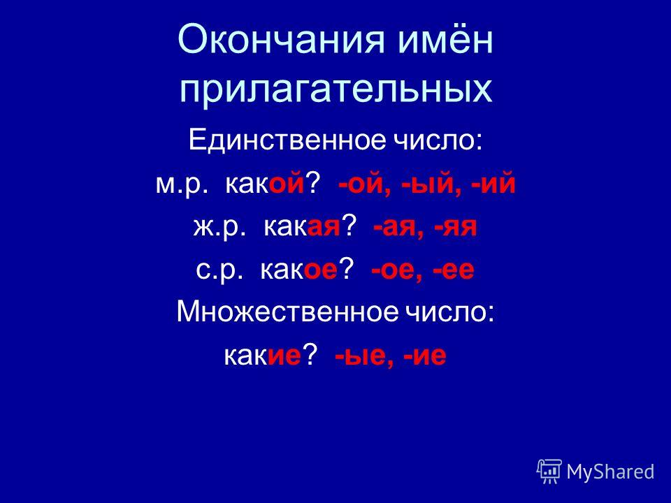 Окончания имён прилагательных Единственное число: м.р. какой? -ой, -ый, -ий ж.р. какая? -ая, -яя с.р. какое? -ое, -ее Множественное число: какие? -ые, -ие