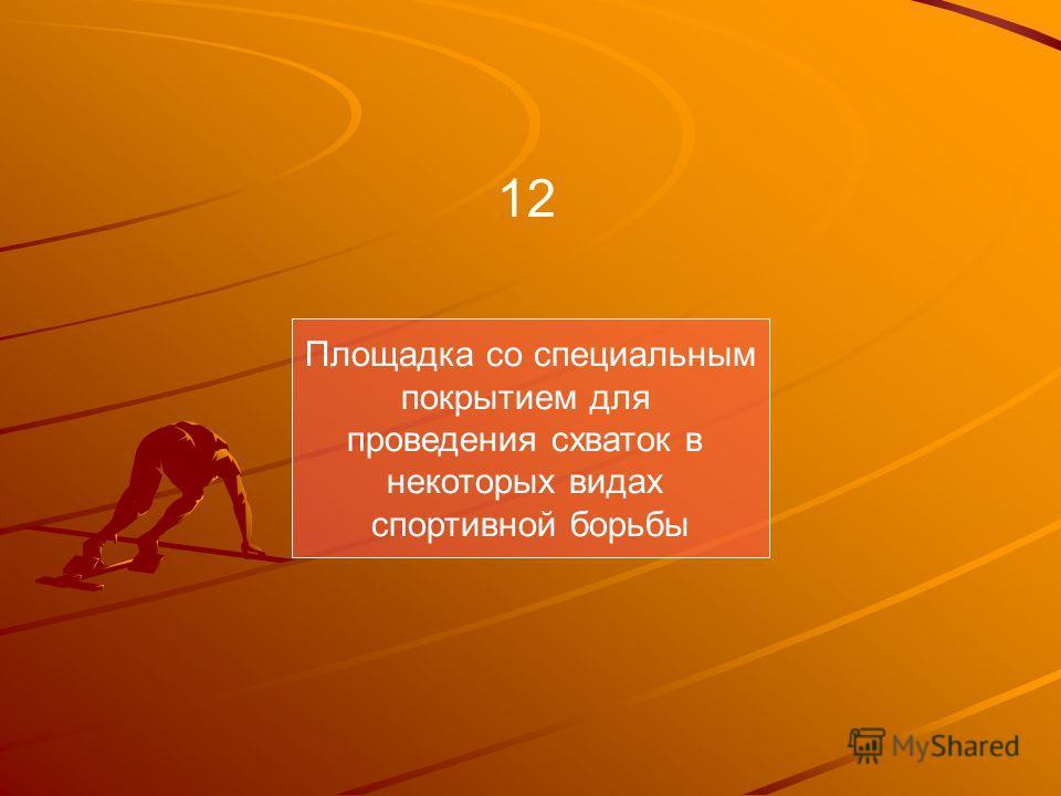 Площадка со специальным покрытием для проведения схваток в некоторых видах спортивной борьбы 12