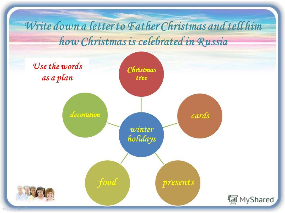 Write down a letter to Father Christmas and tell him how Christmas is celebrated in Russia winter holidays Christmas tree cards presentsfood decoration Use the words as a plan
