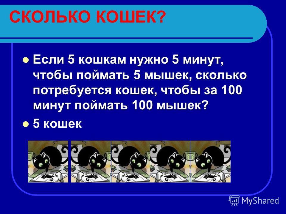 СКОЛЬКО КОШЕК? Если 5 кошкам нужно 5 минут, чтобы поймать 5 мышек, сколько потребуется кошек, чтобы за 100 минут поймать 100 мышек? Если 5 кошкам нужно 5 минут, чтобы поймать 5 мышек, сколько потребуется кошек, чтобы за 100 минут поймать 100 мышек? 5