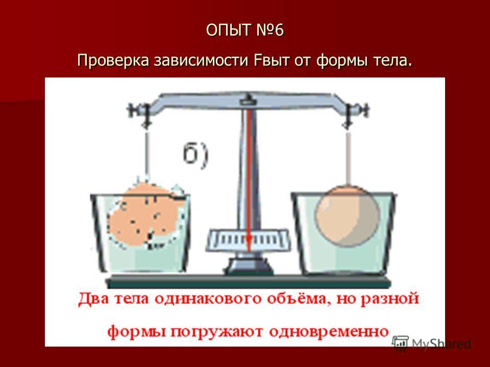 ОПЫТ 6 Проверка зависимости Fвыт от формы тела.
