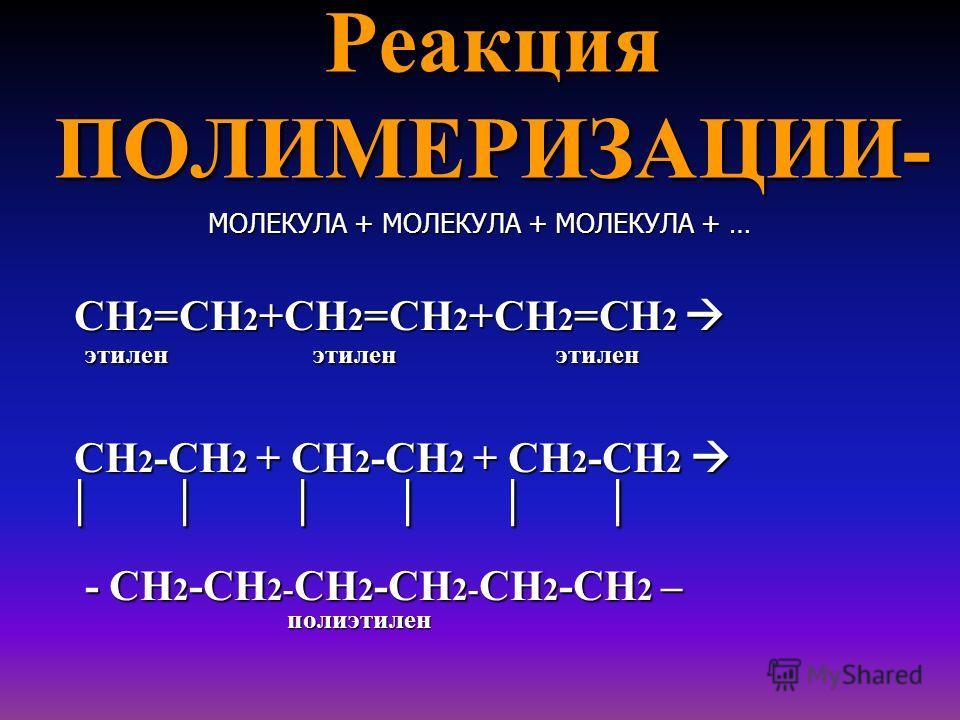 Реакция ПОЛИМЕРИЗАЦИИ- МОЛЕКУЛА + МОЛЕКУЛА + МОЛЕКУЛА + … СН 2 =СН 2 +СН 2 =СН 2 +СН 2 =СН 2 СН 2 =СН 2 +СН 2 =СН 2 +СН 2 =СН 2 этилен этилен этилен этилен этилен этилен СН 2 -СН 2 + СН 2 -СН 2 + СН 2 -СН 2 СН 2 -СН 2 + СН 2 -СН 2 + СН 2 -СН 2 | | |