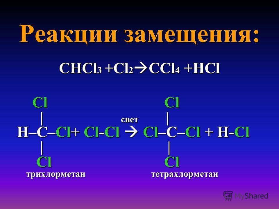 Реакции замещения: СНCl 3 +Cl 2 СCl 4 +НCl Cl Cl Cl Cl | свет | | свет | H–C–Cl+ Cl-Cl Cl–C–Cl + H-Cl | | | | Cl Cl Cl Cl трихлорметан тетрахлорметан трихлорметан тетрахлорметан