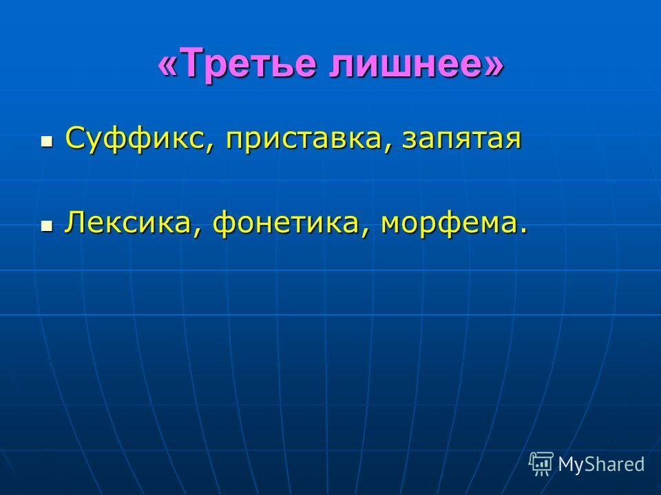 «Третье лишнее» Суффикс, приставка, запятая Суффикс, приставка, запятая Лексика, фонетика, морфема. Лексика, фонетика, морфема.