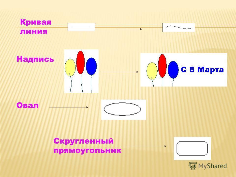 Кривая линия Надпись Овал Cкругленный прямоугольник