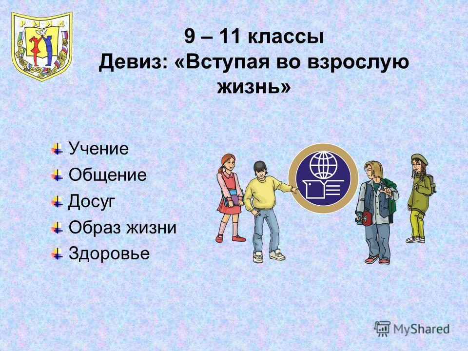 9 – 11 классы Девиз: «Вступая во взрослую жизнь» Учение Общение Досуг Образ жизни Здоровье