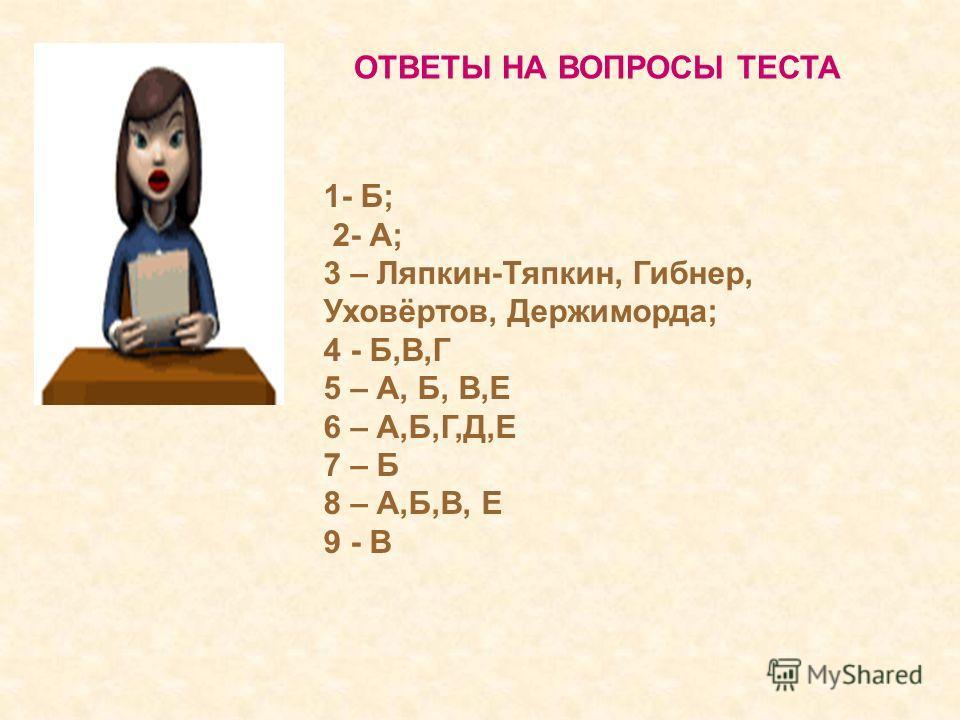 ОТВЕТЫ НА ВОПРОСЫ ТЕСТА 1- Б; 2- А; 3 – Ляпкин-Тяпкин, Гибнер, Уховёртов, Держиморда; 4 - Б,В,Г 5 – А, Б, В,Е 6 – А,Б,Г,Д,Е 7 – Б 8 – А,Б,В, Е 9 - В