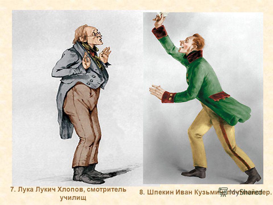 7. Лука Лукич Хлопов, смотритель училищ 8. Шпекин Иван Кузьмич, почтмейстер.