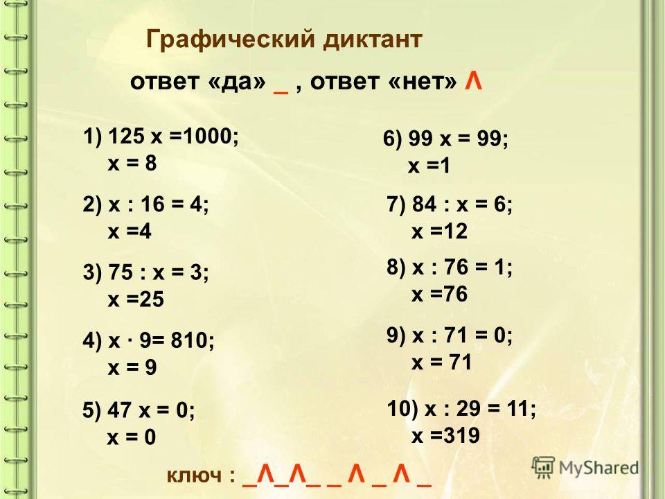 Графический диктант ответ «да» _, ответ «нет» Λ 1)125 х =1000; х = 8 2) х : 16 = 4; х =4 3) 75 : х = 3; х =25 4) х 9= 810; х = 9 5) 47 х = 0; х = 0 6) 99 х = 99; х =1 7) 84 : х = 6; х =12 8) х : 76 = 1; х =76 9) х : 71 = 0; х = 71 10) х : 29 = 11; х