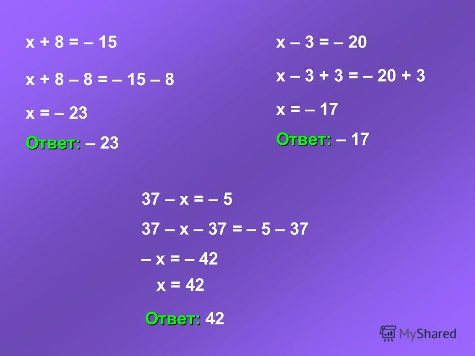 x + 8 = – 15 x + 8 – 8 = – 15 – 8 x = – 23 Ответ: Ответ: – 23 x – 3 = – 20 x – 3 + 3 = – 20 + 3 x = – 17 Ответ: Ответ: – 17 37 – x = – 5 37 – x – 37 = – 5 – 37 – x = – 42 x = 42 Ответ: Ответ: 42