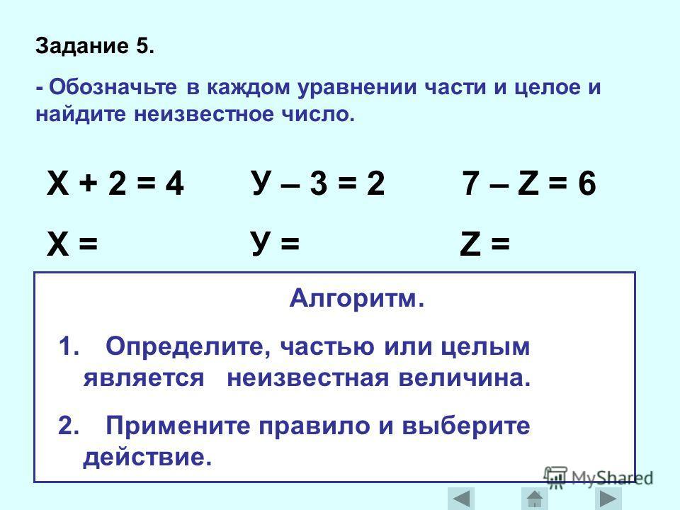 Задание 5. - Обозначьте в каждом уравнении части и целое и найдите неизвестное число. Х + 2 = 4 У – 3 = 2 7 – Z = 6 Х = У = Z = Алгоритм. 1. Определите, частью или целым является неизвестная величина. 2. Примените правило и выберите действие.