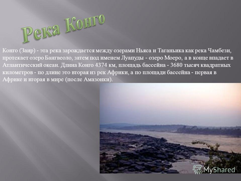 Конго ( Заир ) - эта река зарождается между озерами Ньяса и Таганьика как река Чамбези, протекает озеро Бангвеоло, затем под именем Луапуды - озеро Моеро, а в конце впадает в Атлантический океан. Длина Конго 4374 км, площадь бассейна - 3680 тысяч ква