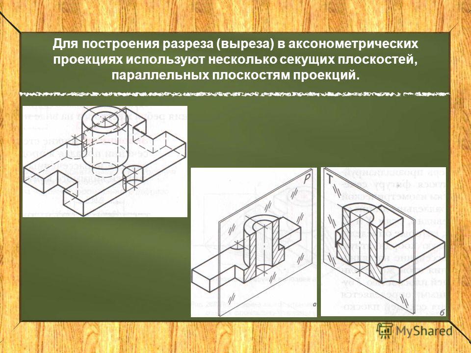 Для построения разреза (выреза) в аксонометрических проекциях используют несколько секущих плоскостей, параллельных плоскостям проекций.