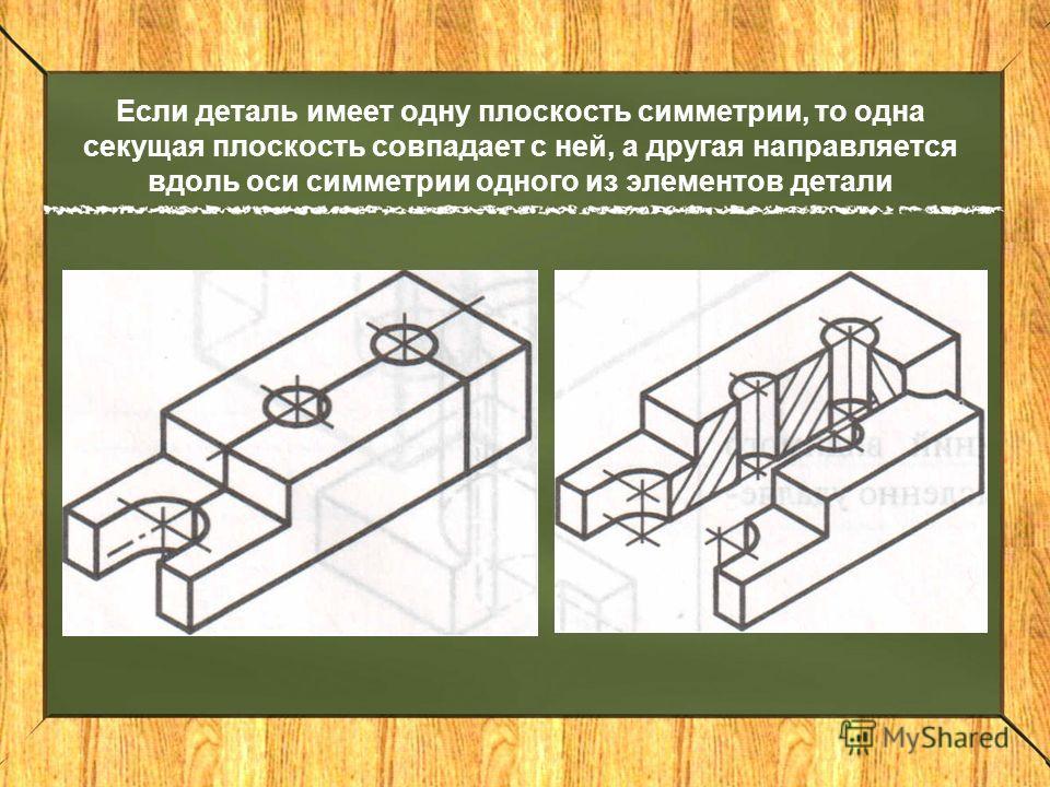 Если деталь имеет одну плоскость симметрии, то одна секущая плоскость совпадает с ней, а другая направляется вдоль оси симметрии одного из элементов детали