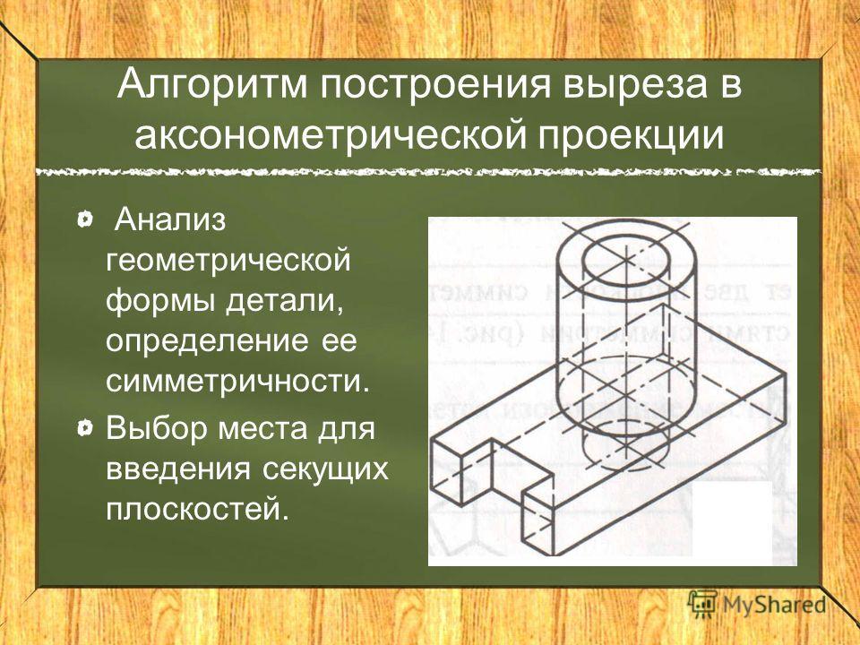 Алгоритм построения выреза в аксонометрической проекции Анализ геометрической формы детали, определение ее симметричности. Выбор места для введения секущих плоскостей.