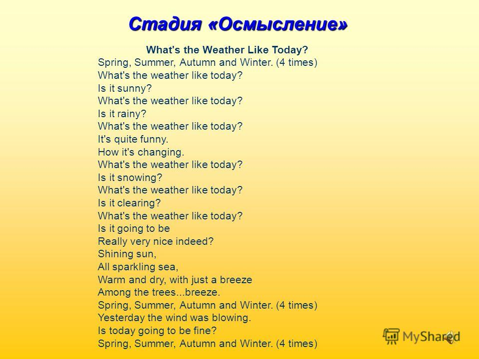 Стадия «Осмысление» What's the Weather Like Today? Spring, Summer, Autumn and Winter. (4 times) What's the weather like today? Is it sunny? What's the weather like today? Is it rainy? What's the weather like today? It's quite funny. How it's changing