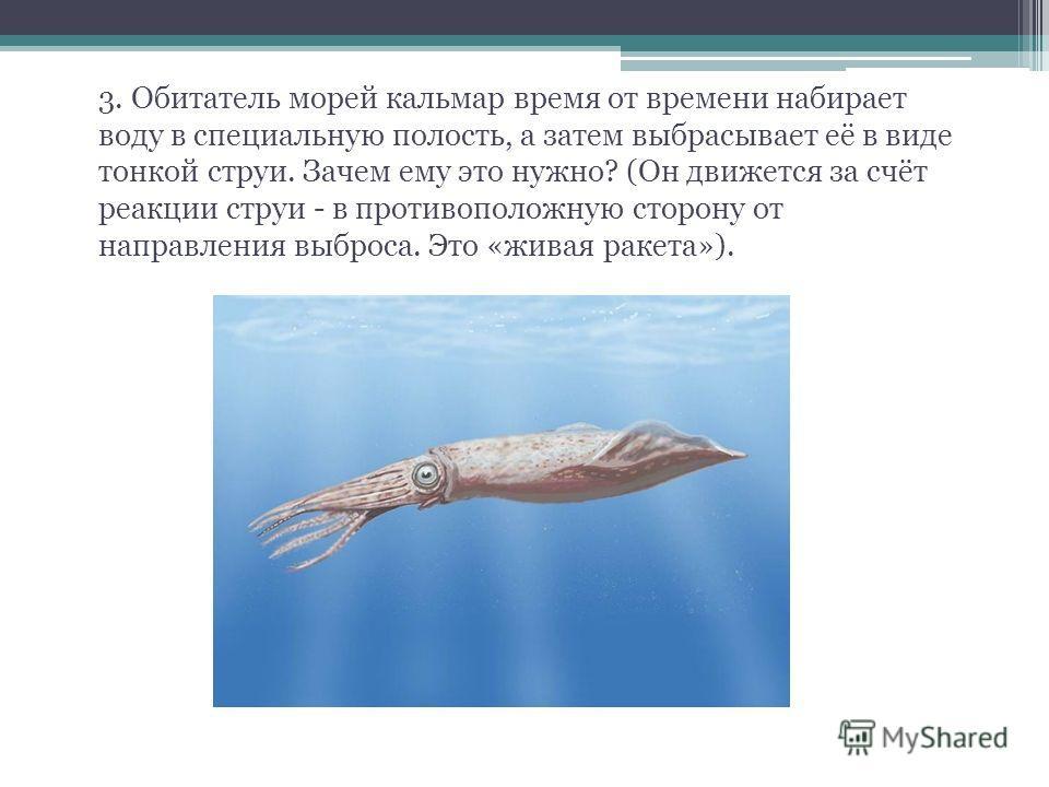 3. Обитатель морей кальмар время от времени набирает воду в специальную полость, а затем выбрасывает её в виде тонкой струи. Зачем ему это нужно? (Он движется за счёт реакции струи - в противоположную сторону от направления выброса. Это «живая ракета