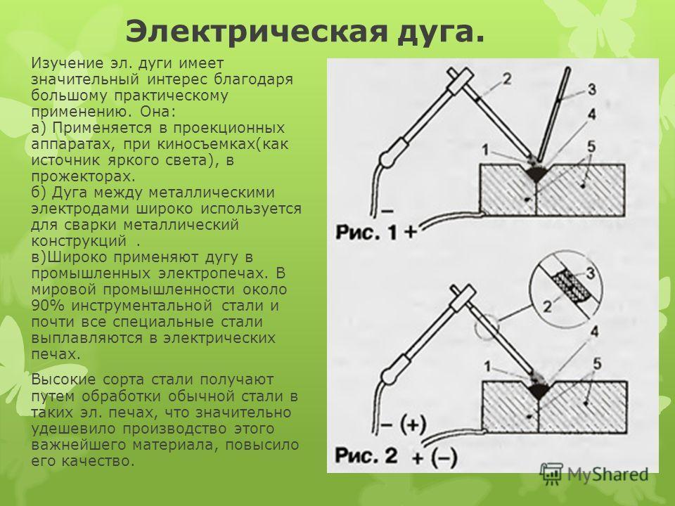 Электрическая дуга. Изучение эл. дуги имеет значительный интерес благодаря большому практическому применению. Она: а) Применяется в проекционных аппаратах, при киносъемках(как источник яркого света), в прожекторах. б) Дуга между металлическими электр