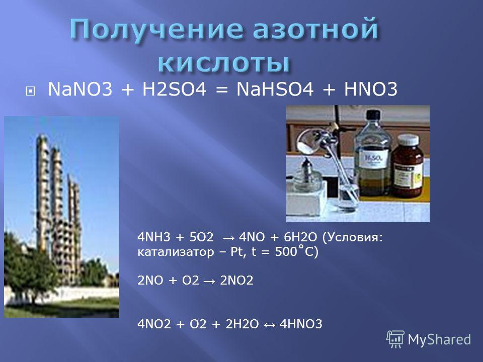 NaNO3 + H2SO4 = NaHSO4 + HNO3 4NH3 + 5O2 4NO + 6H2O (Условия: катализатор – Pt, t = 500˚С) 2NO + O2 2NO2 4NO2 + О2 + 2H2O 4HNO3