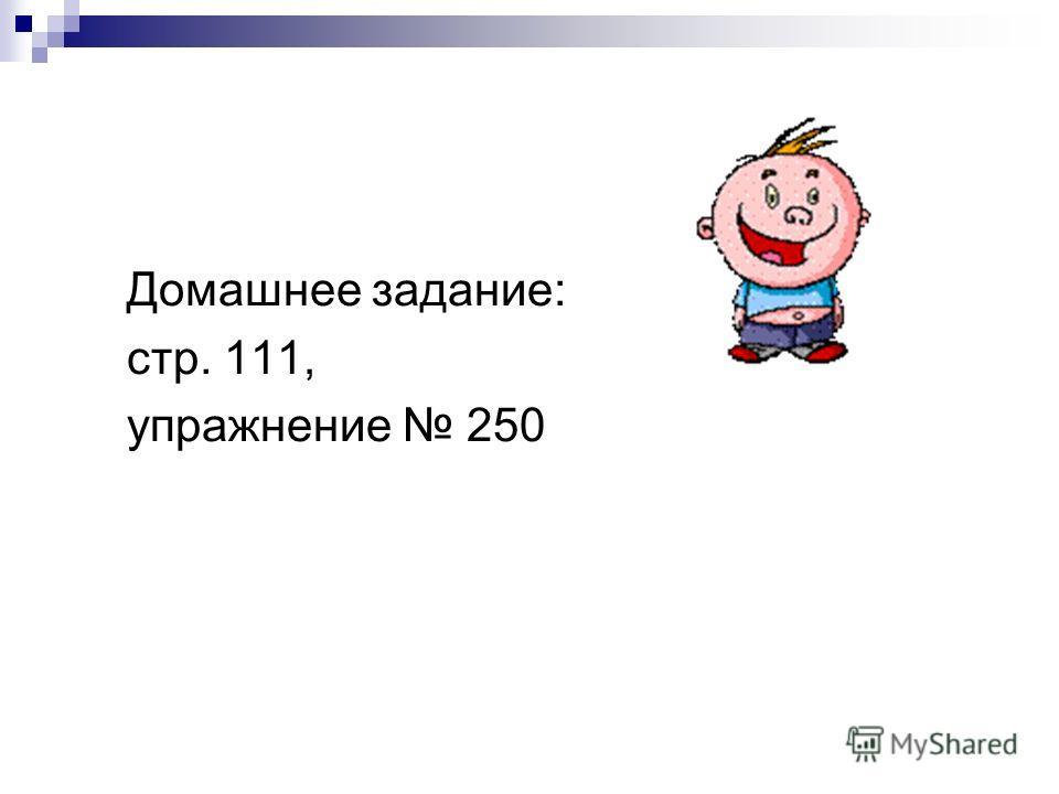 Домашнее задание: стр. 111, упражнение 250