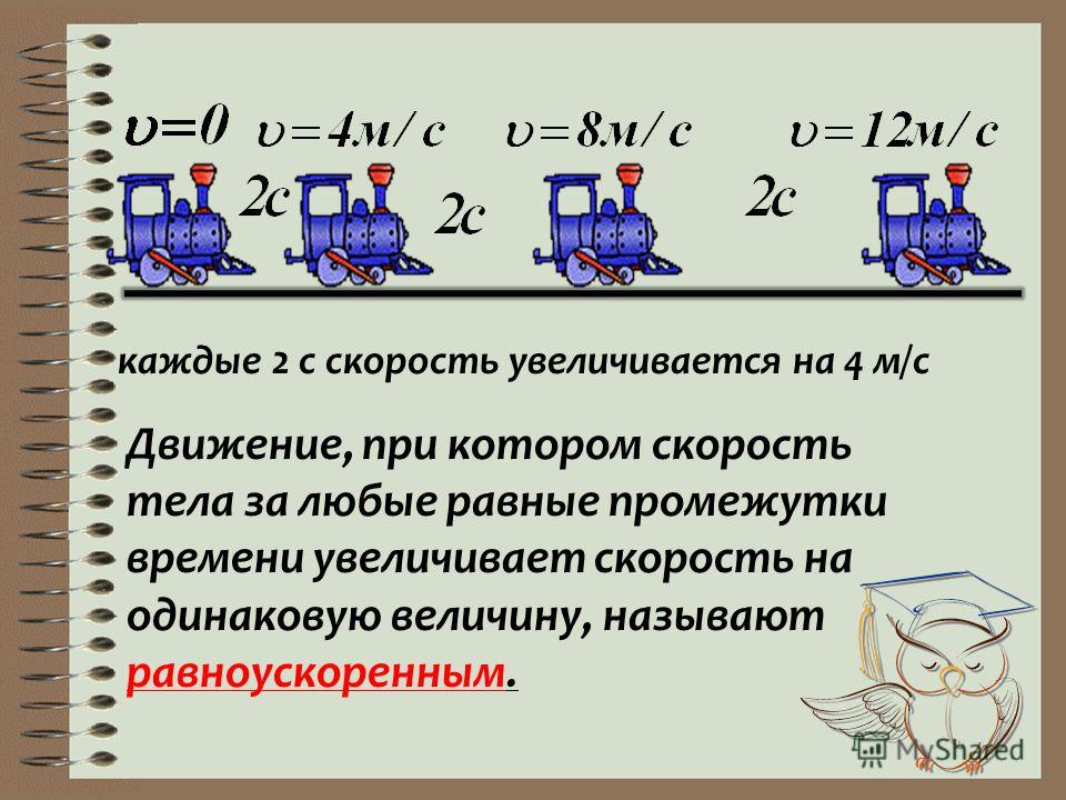 каждые 2 с скорость увеличивается на 4 м/с Движение, при котором скорость тела за любые равные промежутки времени увеличивает скорость на одинаковую величину, называют равноускоренным.