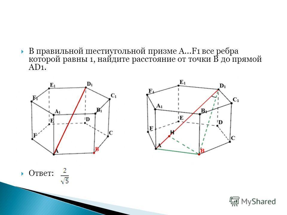 В правильной шестиугольной призме A...F1 все ребра которой равны 1, найдите расстояние от точки B до прямой AD1. Ответ:
