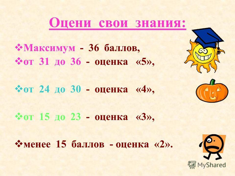 Оцени свои знания: М аксимум - 36 баллов, о т 31 до 36 - оценка «5», о т 24 до 30 - оценка «4», о т 15 до 23 - оценка «3», м енее 15 баллов - оценка «2».