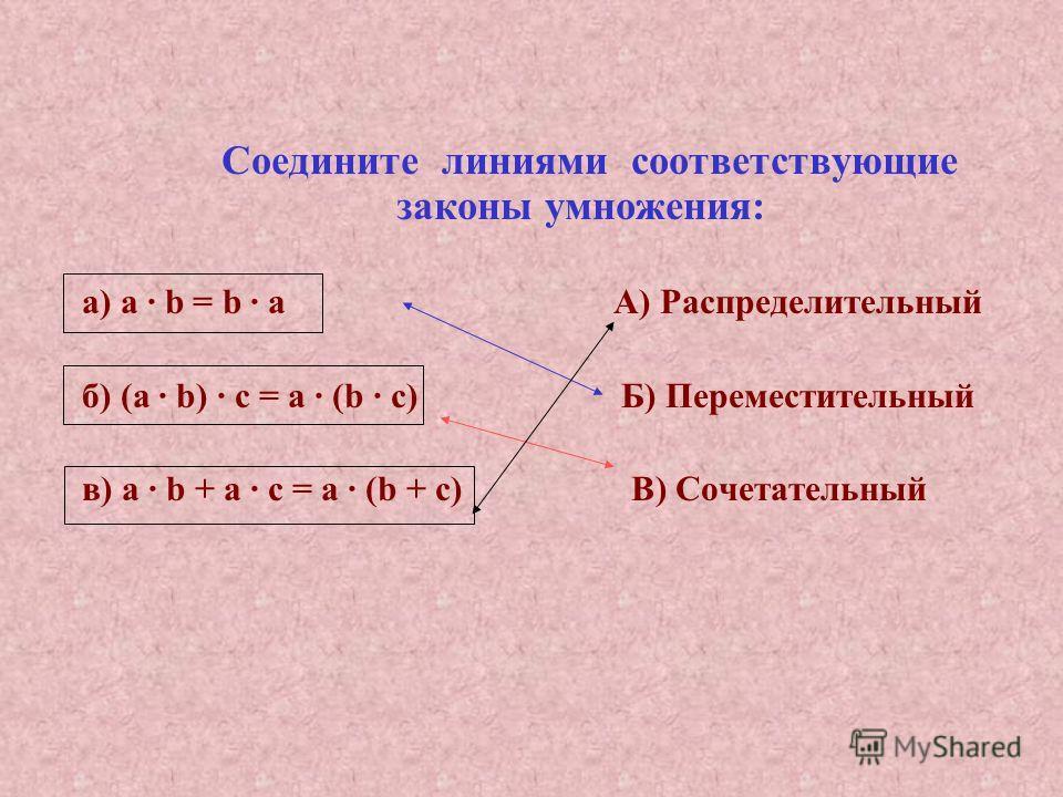 Соедините линиями соответствующие законы умножения: а) a · b = b · а А) Распределительный б) (a · b) · с = а · (b · с) Б) Переместительный в) а · b + а · с = а · (b + с) В) Сочетательный