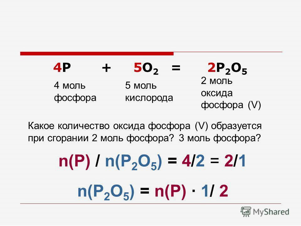 4P + 5O 2 = 2P 2 O 5 4 моль фосфора 5 моль кислорода 2 моль оксида фосфора (V) Какое количество оксида фосфора (V) образуется при сгорании 2 моль фосфора? 3 моль фосфора? n(P) / n(P 2 O 5 ) = 4/2 = 2/1 n(P 2 O 5 ) = n(P) 1/ 2