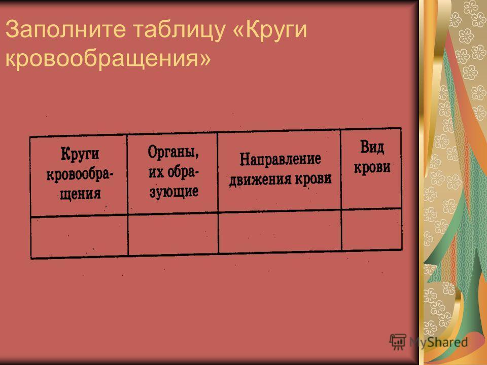 Заполните таблицу «Круги кровообращения»