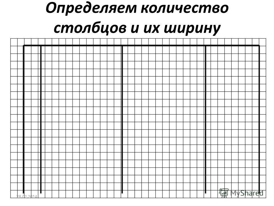 Определяем количество столбцов и их ширину